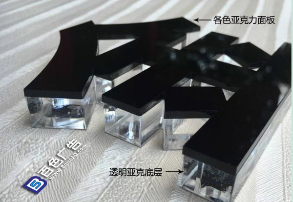 水晶字分為上下兩層